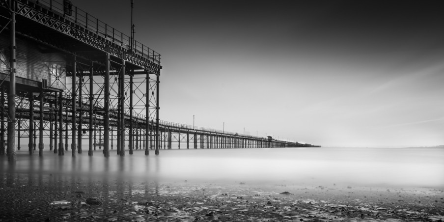 Beach, Pier, Sea, Sand, Water, Long Exposure, Black, White, Fine, Art, Photo, Photography,
