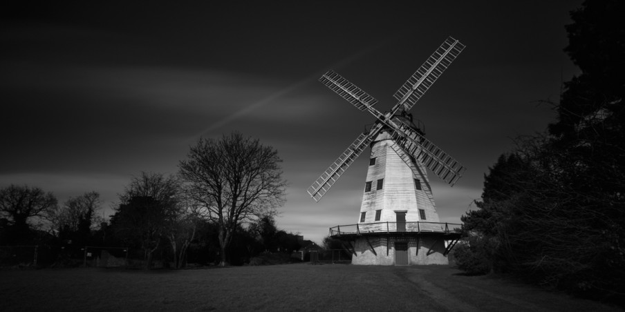 Windmill Upminster Country Black White Fine Art Long Exposure Photo Photography London Cloud Smock Mill