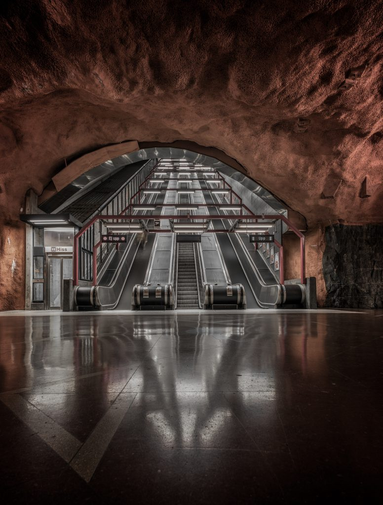Stockholm, Metro, Station, Train, Underground, Colour, Photography, Art, Exhibition, Line, Red, Blue, Orange, Architecture,