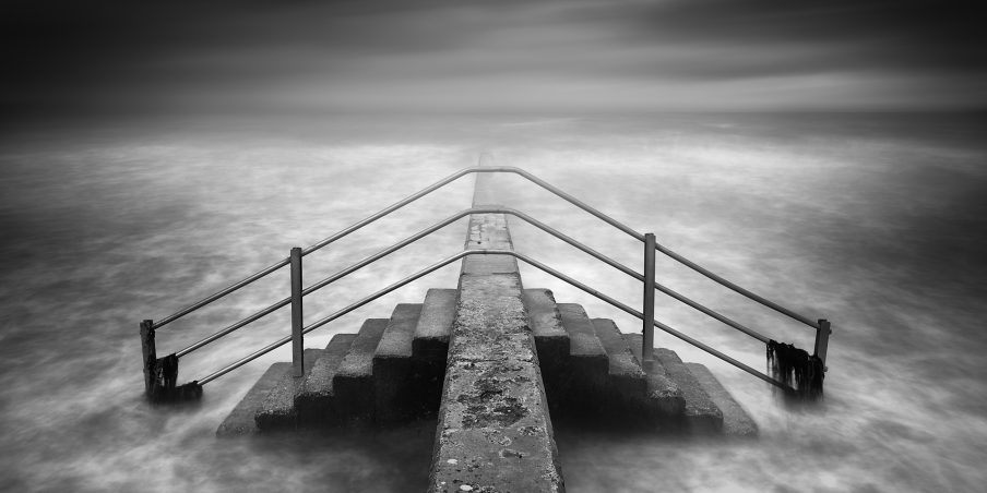 Into the sea, black and white, fine art, artist, photography, coast, sea, seaside, water,